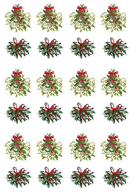 24 Stand Up Edible Wafer Paper Christmas Mistletoe Toppers Decoration