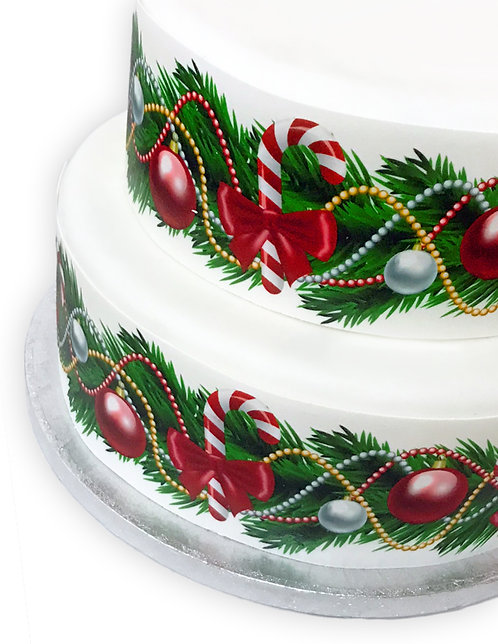 Christmas Candy Cane and Bauble Border Decor Icing Sheet Cake Decoration