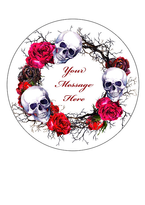 Halloween Skull & Rose PERSONALISED MESSAGE 7.5 Inch Circle Decor Icing Topper