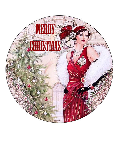 Gorgeous Art Deco Style Merry Christmas 7.5 Inch Circle Decor Icing Sheet Topper