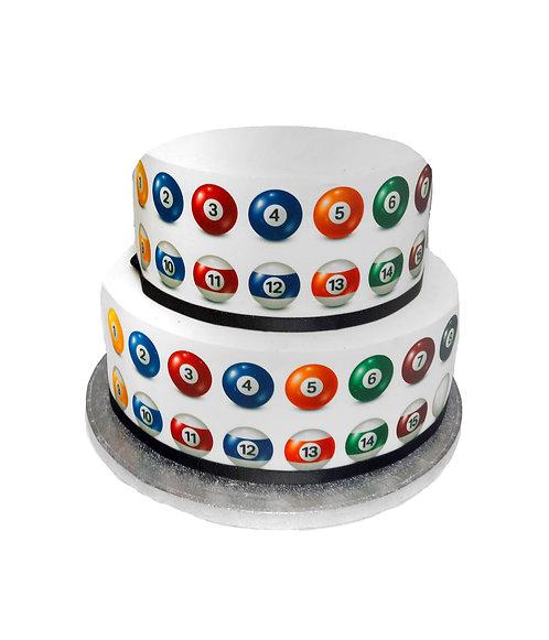 Pool Billard Ball Border Decor Icing Sheet Cake Decoration