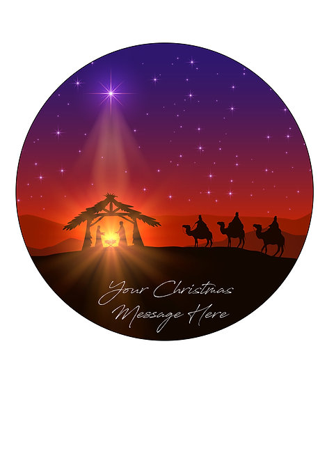 Christmas NATIVITY Scene PERSONALISED MESSAGE 7.5 Inch Circle Decor Icing Topper