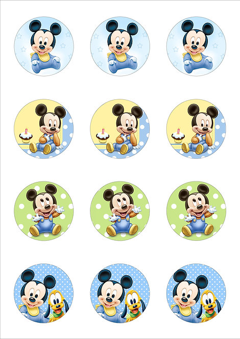 Baby Mickey Mouse 5cm Circle Thin Edible Wafer Paper