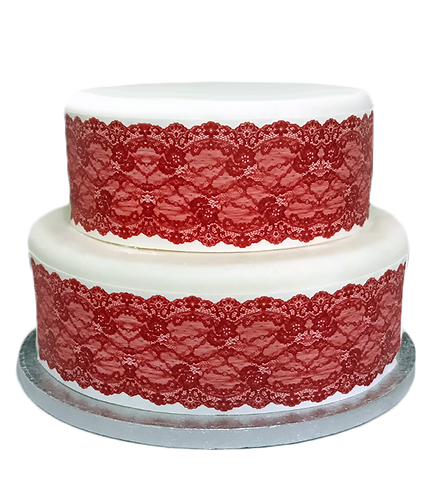 Red Lace Borders Decor Icing Sheet Cake Decoration