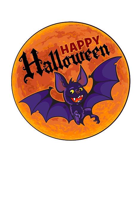 Happy Halloween Bat 7.5 Inch Circle Decor Icing Sheet