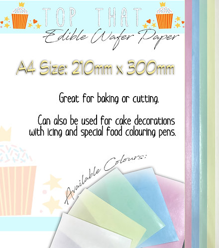 30 Sheets of A4 Edible Wafer Paper (Yellow, Pink, Green, Blue & White)