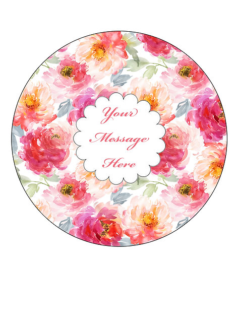 Watercolour Peony Flower PERSONALISED MESSAGE 7.5 Inch Circle Decor Icing Sheet