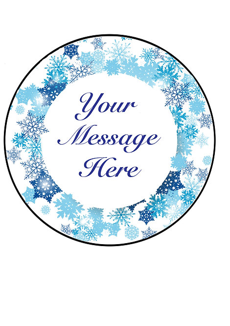 Blue Snowflake Frozen PERSONALISED MESSAGE 7.5 Inch Circle Decor Icing Sheet