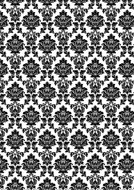 1 x A4 Black and White Pattern Wallpaper Decor Icing Sheet