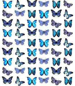 54 Mixed Blue Butterfly Toppers Edible Thin Wafer Paper