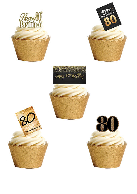 21 Stand Up Edible Wafer Paper Happy Birthday Age 80 80th Eighty Cake Toppers