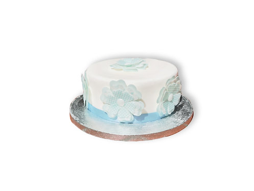 6 Large 70mm 3D Triple Layer Blue Daisy Flowers Edible Wafer Paper Toppers