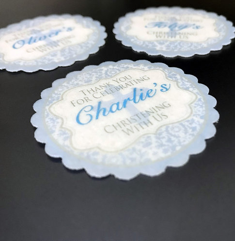 15 Pre-Cut PERSONALISED Scalloped Edge Boy Christening Edible Thick Wafer Paper