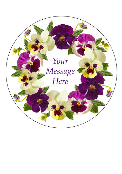 Pansy Flower Design PERSONALISED MESSAGE 7.5 Inch Circle Decor Icing Sheet