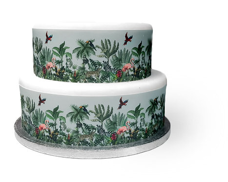 Tropical Palm Tree Jungle Cake Border Edible Decor Icing Sheet