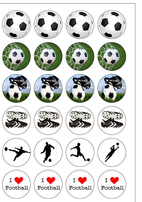24 I Love Football Sport Pre-Cut Thin Edible Wafer Paper