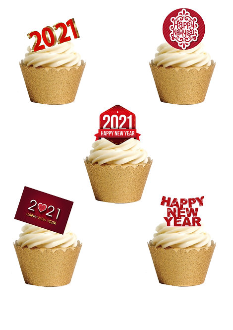 24 Red New Year 2021 Stand Up Cake Toppers on Thick Waf