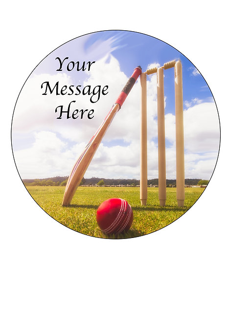 Cricket Sport PERSONALISED MESSAGE 7.5 Inch Circle Decoration