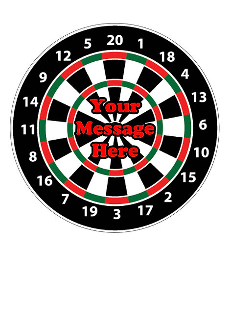 Darts Board PERSONALISED MESSAGE 7.5 Inch Circle Decor Icing