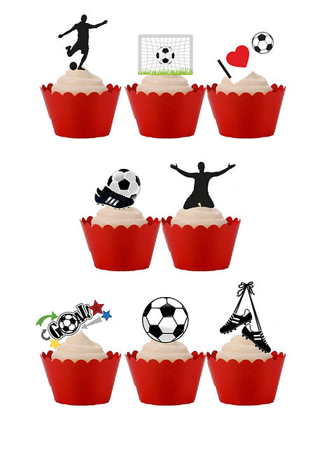 22 Stand Up Edible Wafer Paper Football Cake Toppers