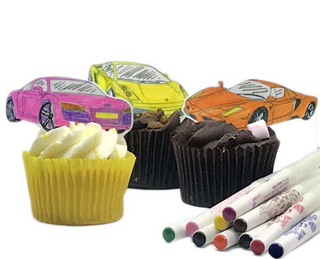 Fast Sports Car Colouring Pack Edible Wafer & 10 Foodoodler Pens