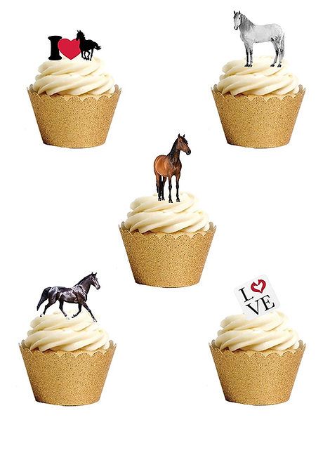 25 Stand Up Edible Wafer Paper Horse and Pony Toppers