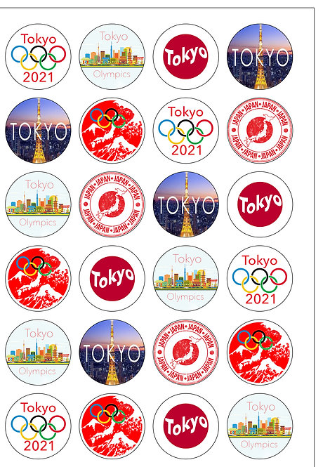 24 Pre-cut Tokyo Olympics Japan 2021 Edible Wafer Paper Toppers Decoration