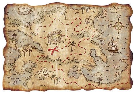 Treasure Map Pirate Design Wallpaper Decor Icing Sheet