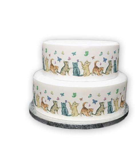 Cute Kittens and Butterflies Border Decor Icing Sheet Cake Decoration