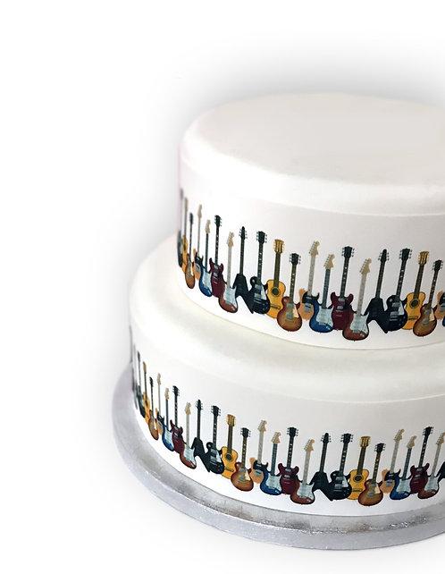 Guitar Musical Instrument Border Decor Icing Sheet Cake Decoration