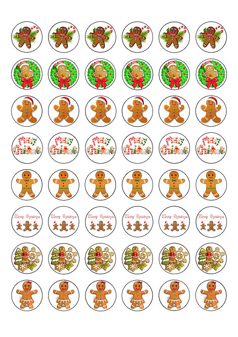 48 Christmas Gingerbread Man Women 2.5cm Edible Wafer Toppers