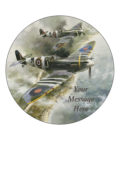 Spitfire Aeroplane Vintage PERSONALISED MESSAGE 7.5 Inch Circle Decor Icing Topp