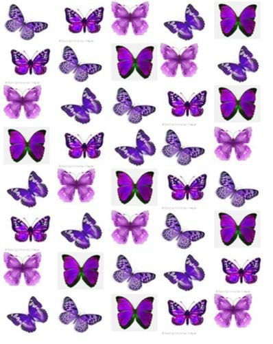 40 Mixed Purple Butterfly Toppers Edible Thin Wafer Paper