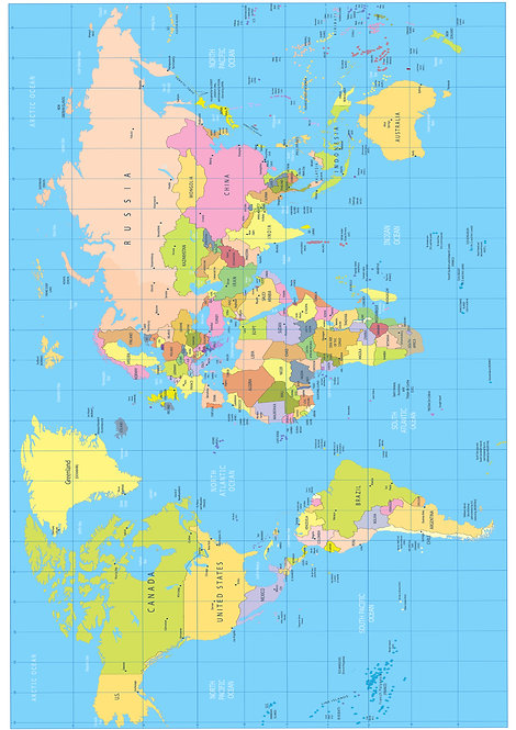 A4 Map of the World Wallpaper Decor Icing Sheet