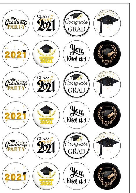 24 Graduation 2021 Pre-Cut Thin Edible Wafer Paper Cake Toppers