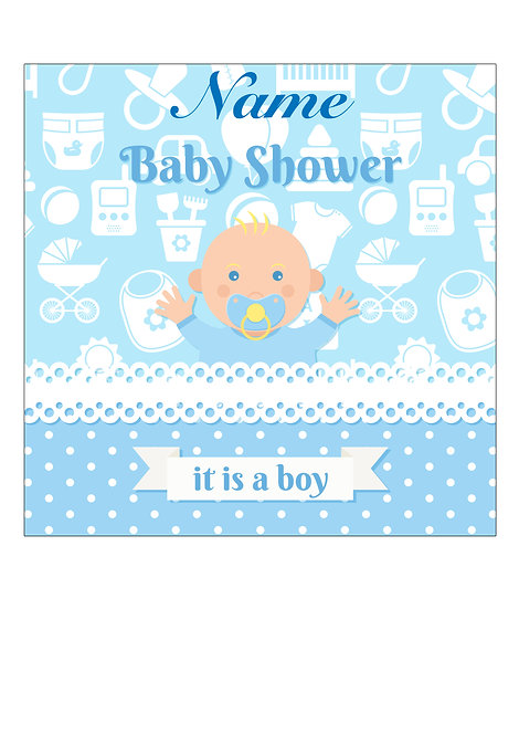 Baby Boy Shower PERSONALISED MESSAGE 7.5 Inch SQUARE Decor Icing Topper