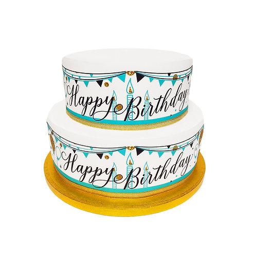 Happy Birthday Borders Decor Icing Sheet