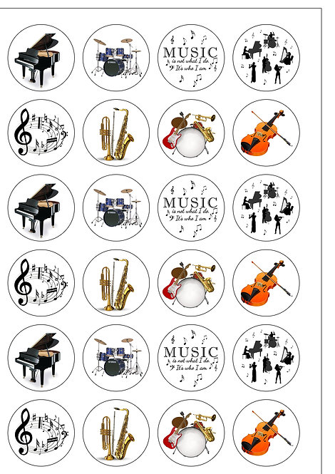 24 Musical Instruments Prom Pre-Cut Thin Edible Wafer Paper