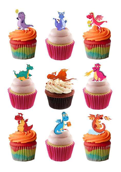 22 Cute Dragons Stand Up Edible Wafer Paper Cake Toppers