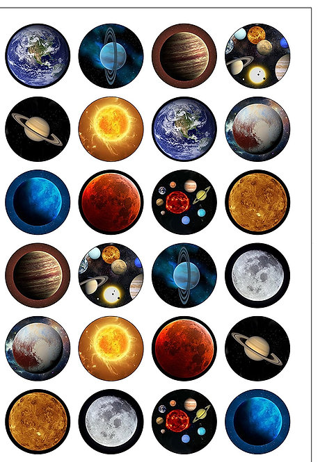 24 Outer Space Planets Pre-Cut Thin Edible Wafer Paper