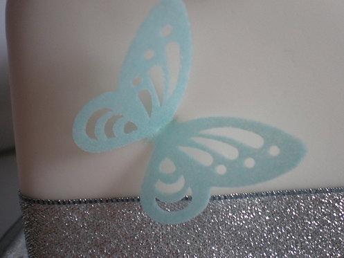 24 Pre-Cut Skeleton BLUE Butterflies Thin Edible Wafer Paper