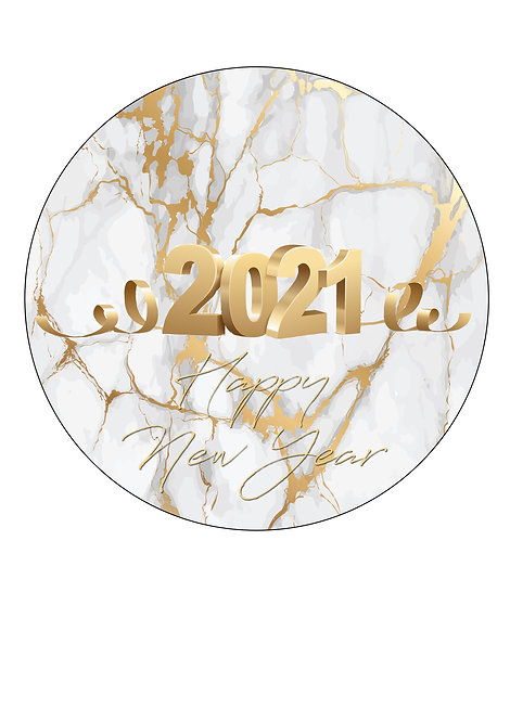 Happy New Year 2021 7.5 Inch Circle Decor Icing Topper