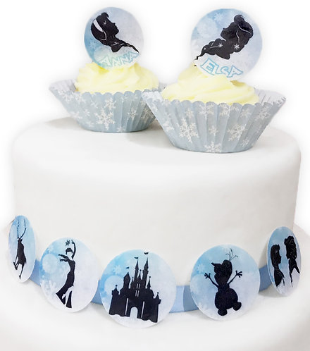 24 Frozen Silhouette Style Pre-Cut Edible Wafer Paper Cake Toppers