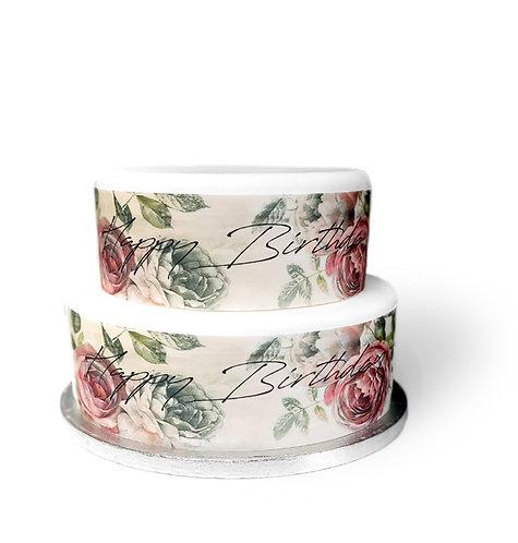 Vintage Floral Happy Birthday Borders Decor Icing Sheet