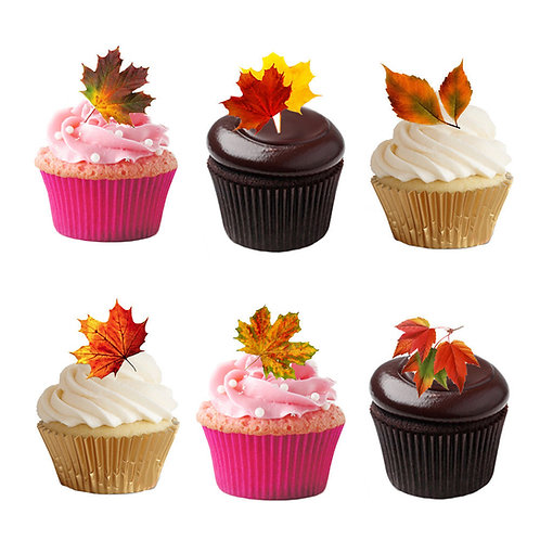 27 Stand Up Autumn Leaves Leaf Edible Premium Wafer Paper Cake Toppers