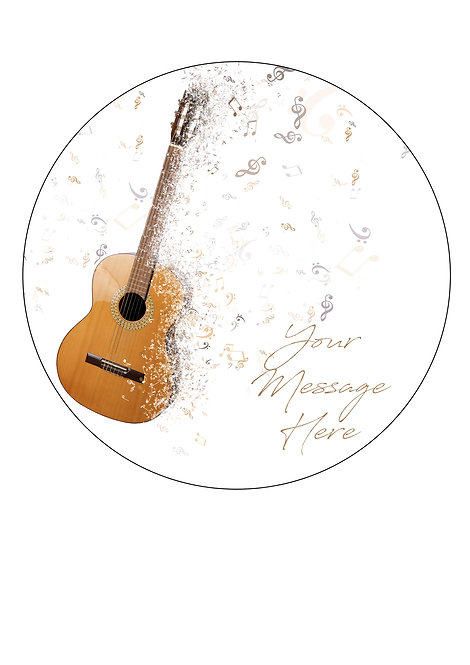 Guitar PERSONALISED MESSAGE 7.5 Inch Circle Decoration Topper