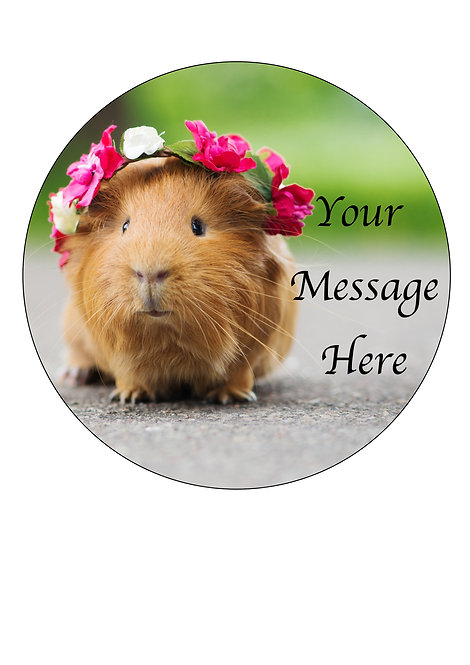 Guinea Pig PERSONALISED MESSAGE 7.5 Inch Circle Decoration Topper