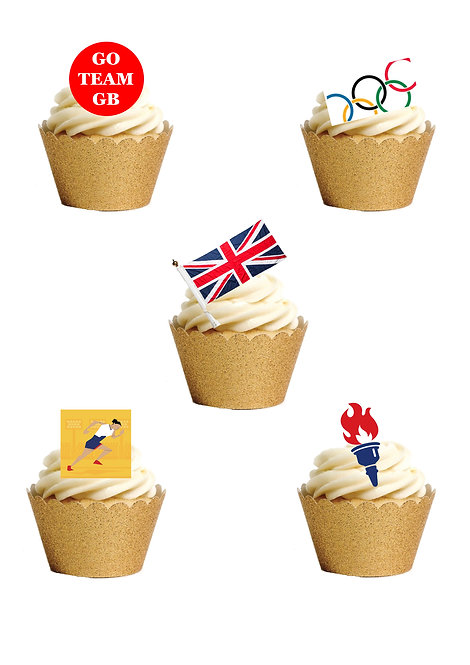 27 Stand Up Olympics Team GB Tokyo 2021 Edible Wafer Paper Cake Toppers