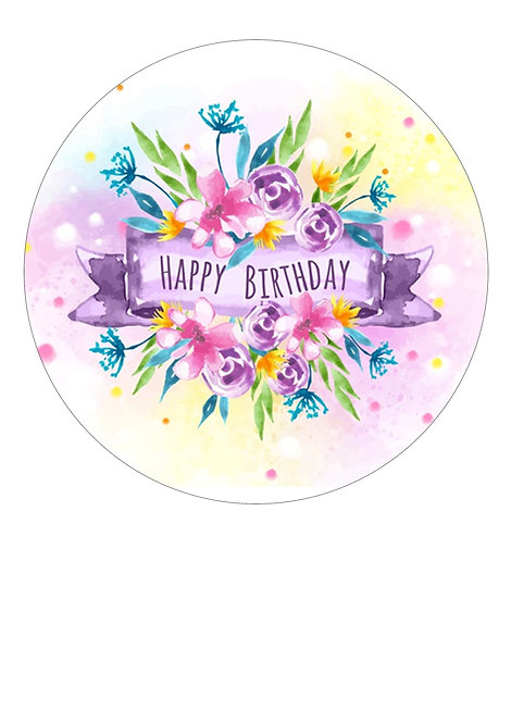 Bright Watercolour Floral Happy Birthday 7.5 Inch Circle Decor Icing Sheet