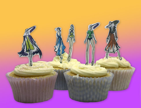 30 Stand Up Fashion Figure Drawings Fashion Design themed Cake Toppers